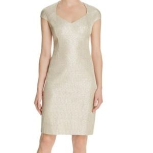 New Kay Unger Gold Metallic Party Cocktail Dress